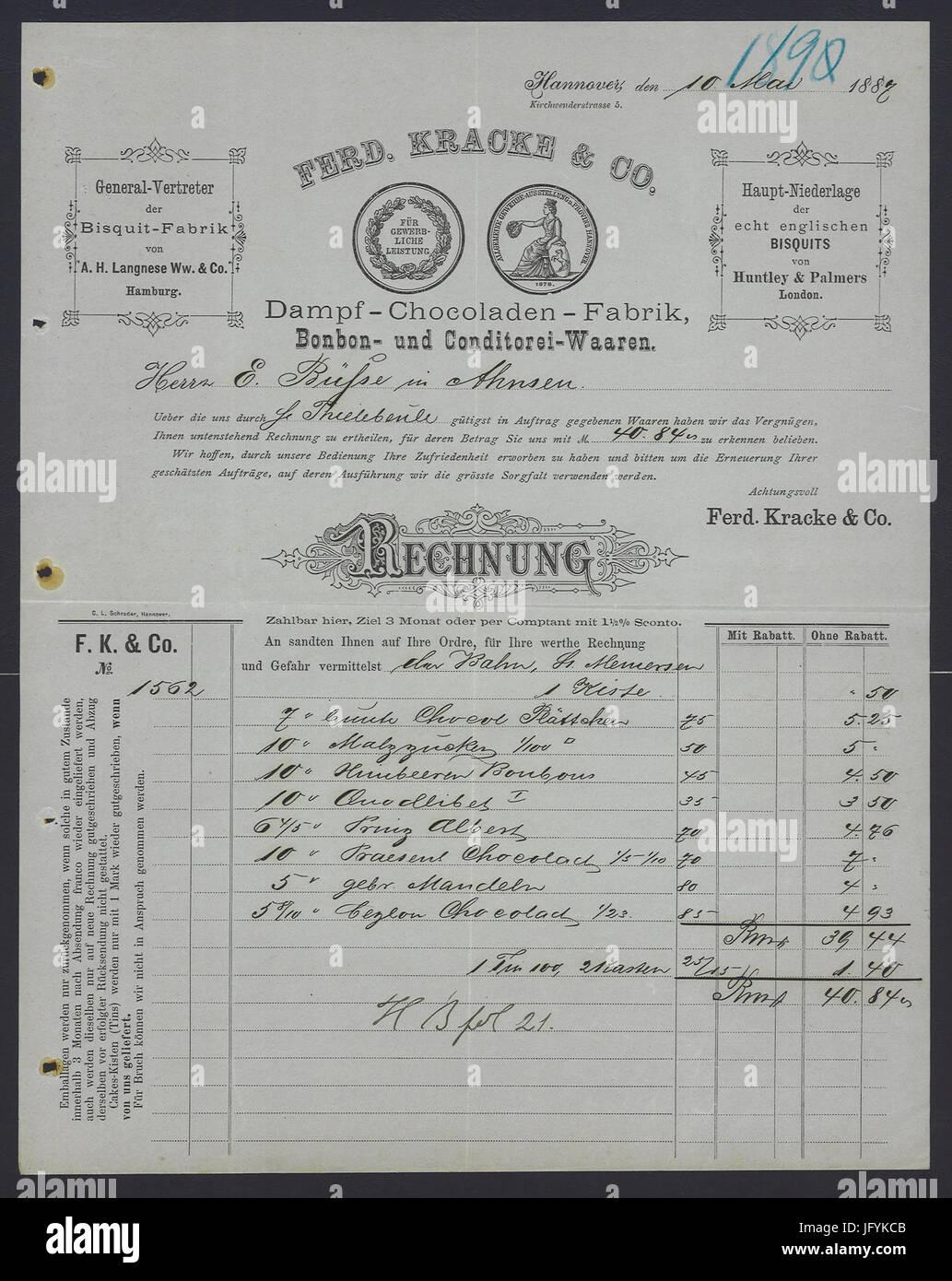 Ferdinand Kracke & Co. Hannover 1887-05-10 Rechnung Stock Photo ...