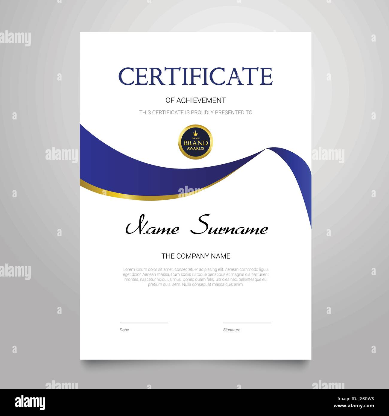 Certificate template modern vertical elegant vector document certificate template modern vertical elegant vector document with luxury design diploma of achievement appreciation with copy space for name surn yelopaper Images