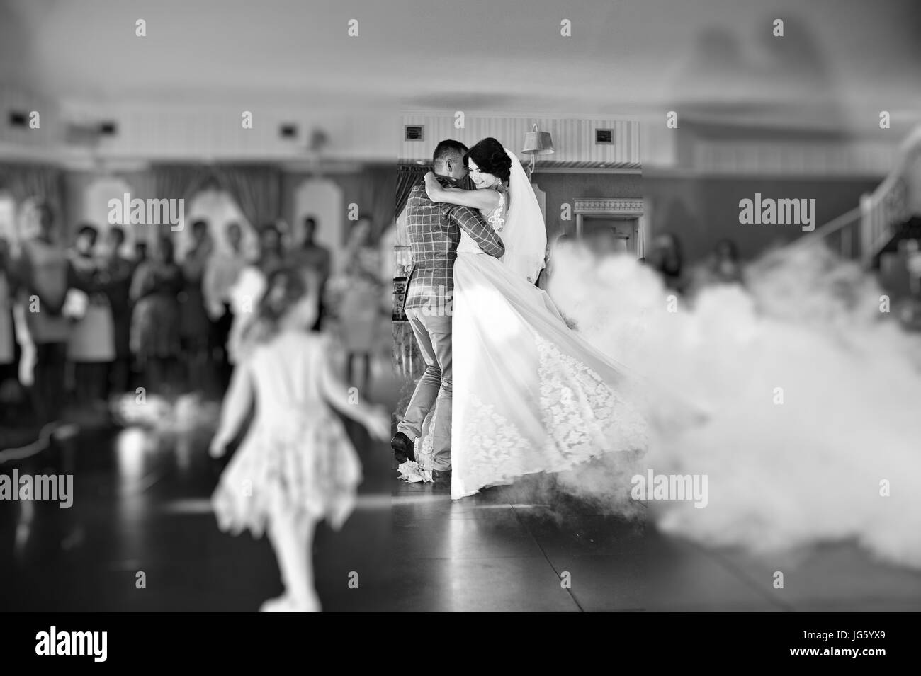 Beautiful Wedding Couple Dancing Their First Dance In A Restaurant With People The Background Black And White Photo