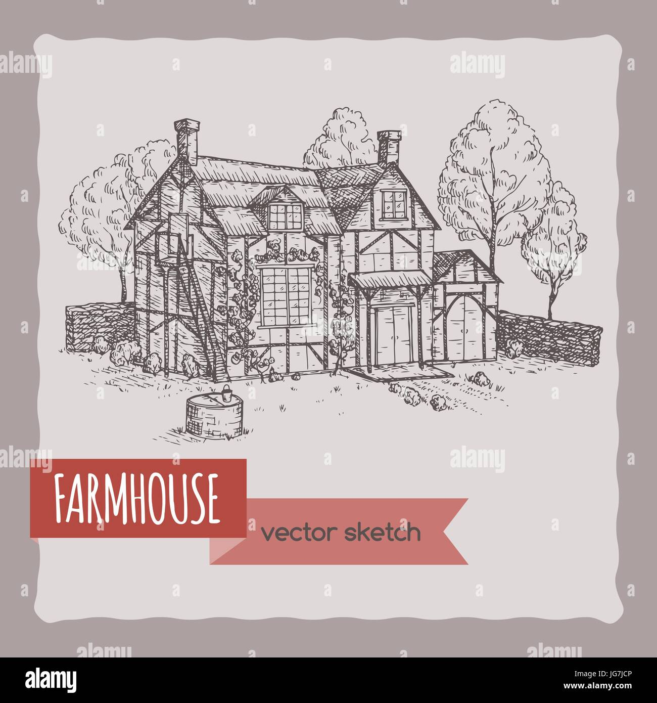 Hand Drawn Sketch With Old Farmhouse Great For Farmer Product And Travel Ads Brochures Labels