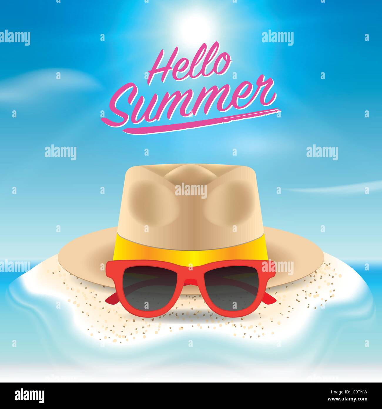 Exceptionnel Hello Summer Background. Beach Island Background With Sunglasses And Straw  Hat. Design For Poster, Voucher Discount, Invitation Card, Backdrop