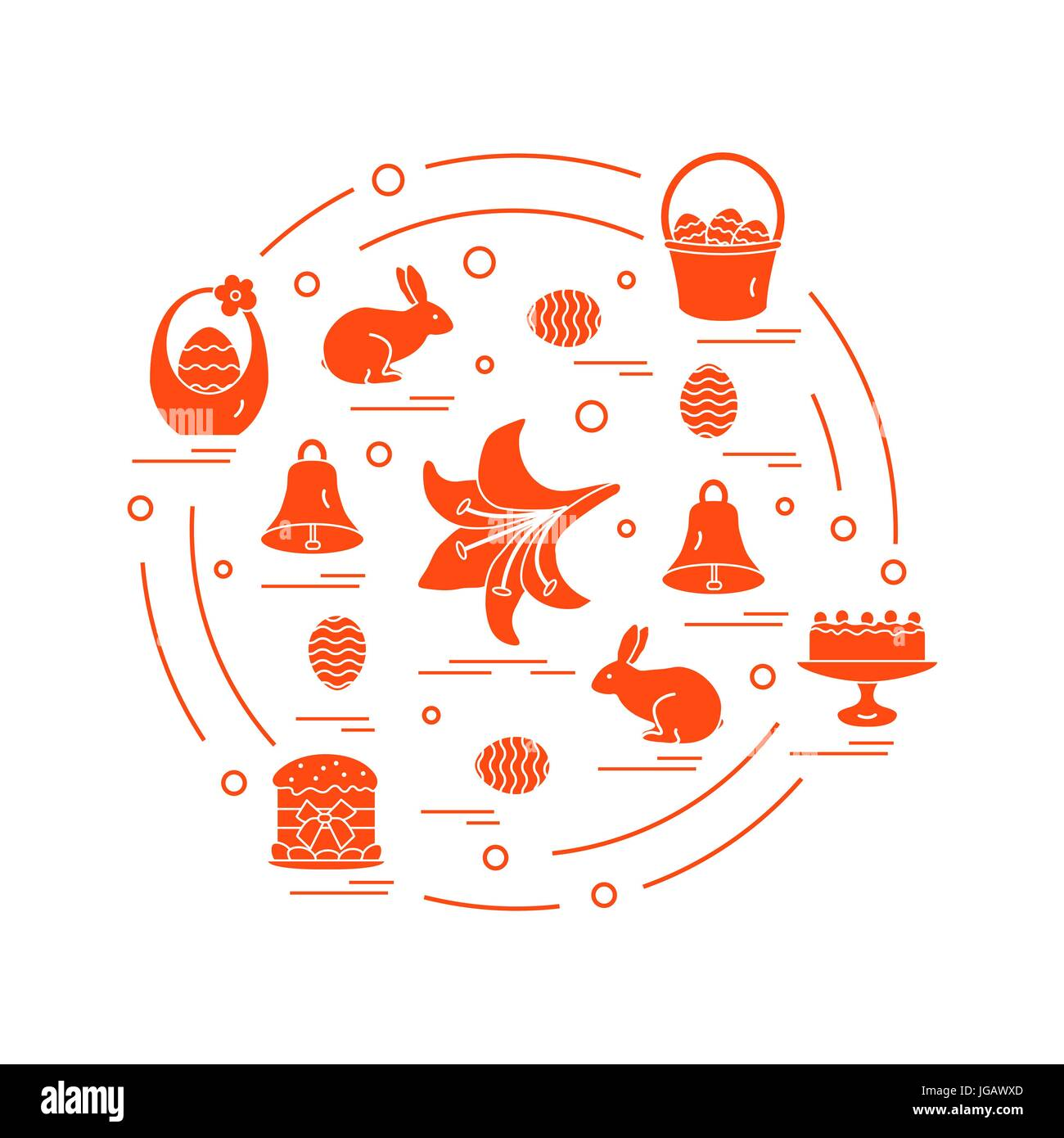 Cute Vector Illustration With Different Symbols For Easter Arranged