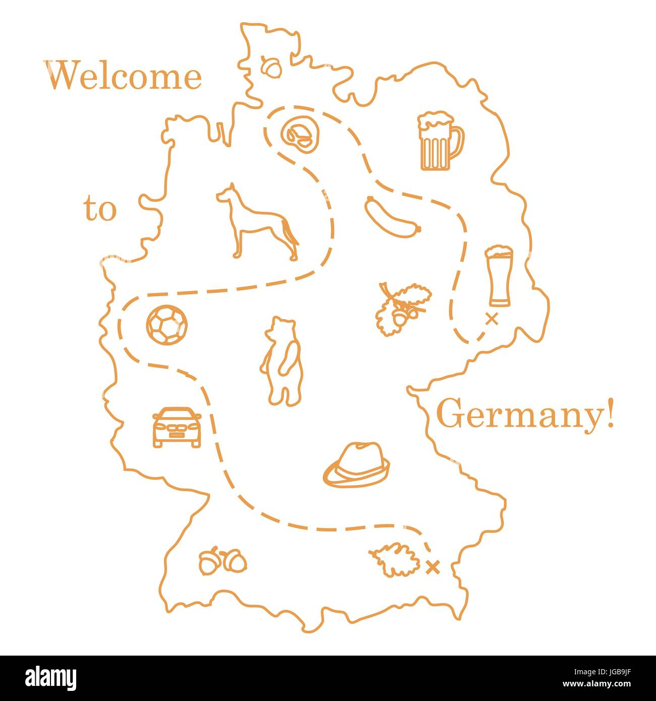 Vector illustration with various symbols of germany travel and vector illustration with various symbols of germany travel and leisure design for banner poster or print biocorpaavc Gallery
