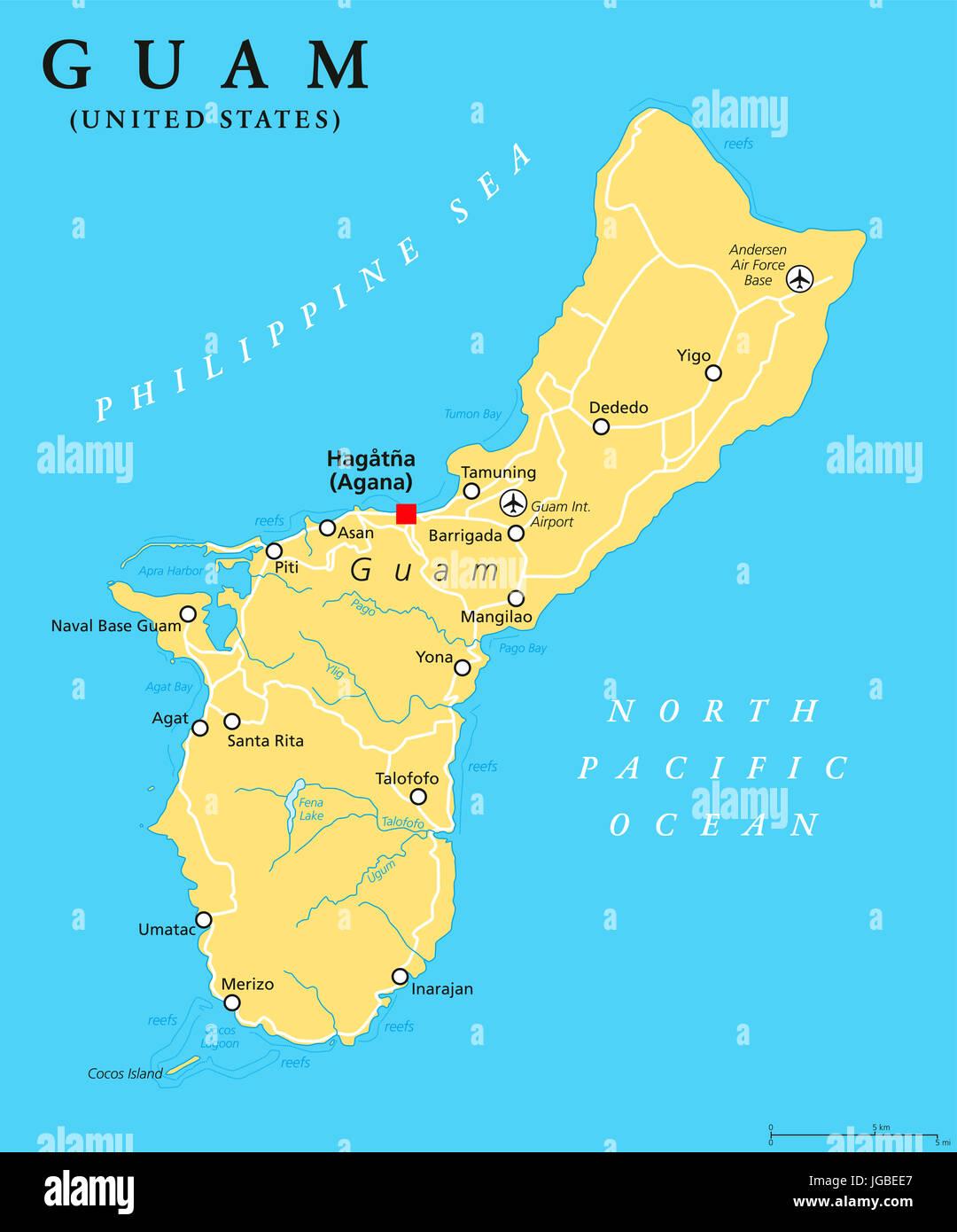 Guam Political Map With Capital Hagatna Agana Unincorporated - Us political map with capitals