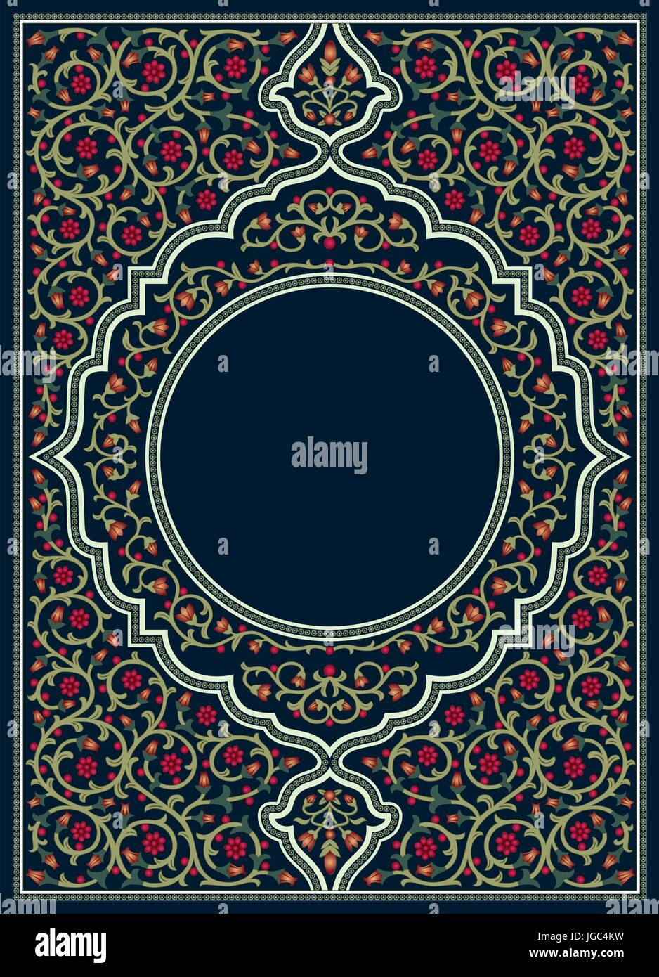 Islamic Book Cover Design Vector ~ Prayer book cover islamic style with floral ornament stock