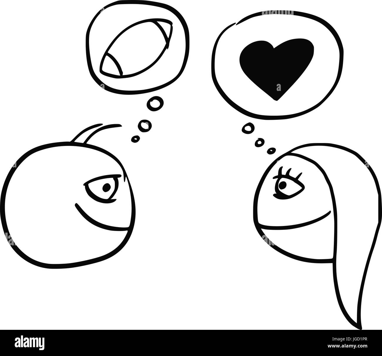 Cartoon vector of difference between man and woman thinking about cartoon vector of difference between man and woman thinking about football rugby ball and heart symbol of love and relationship biocorpaavc
