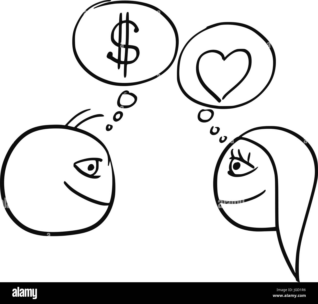 Cartoon vector of difference between man and woman thinking about cartoon vector of difference between man and woman thinking about relationship money dollar sign and heart symbol of love biocorpaavc