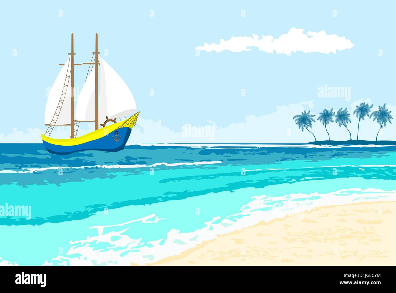 Summer sea view with cartoon sailboat and palms island seaside summer sea view with cartoon sailboat and palms island seaside background for flyer banner greeting card and invitation kristyandbryce Gallery