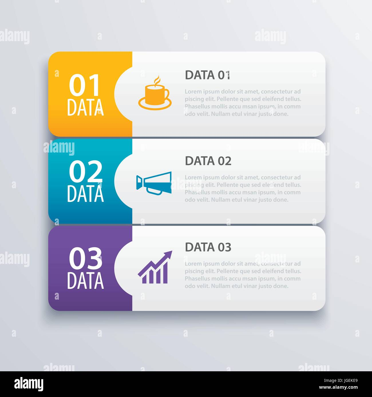 3 infographic tab index banner design vector and marketing template ...
