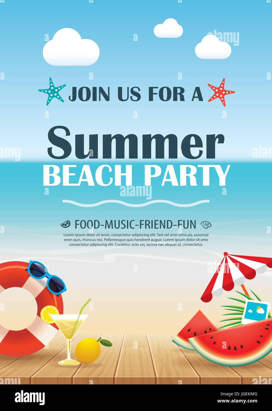 Beach party invitation poster with vacation element wooden and – Beach Party Invitation