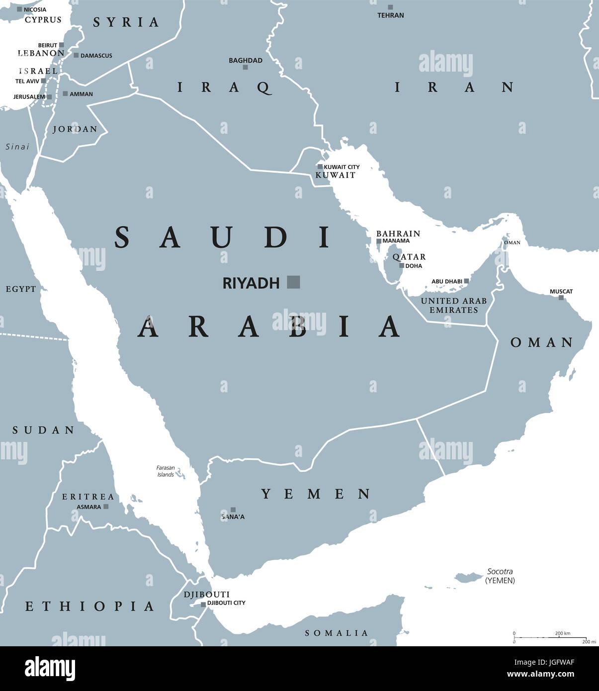 Saudi Arabia political map with capital Riyadh Kingdom and Arab
