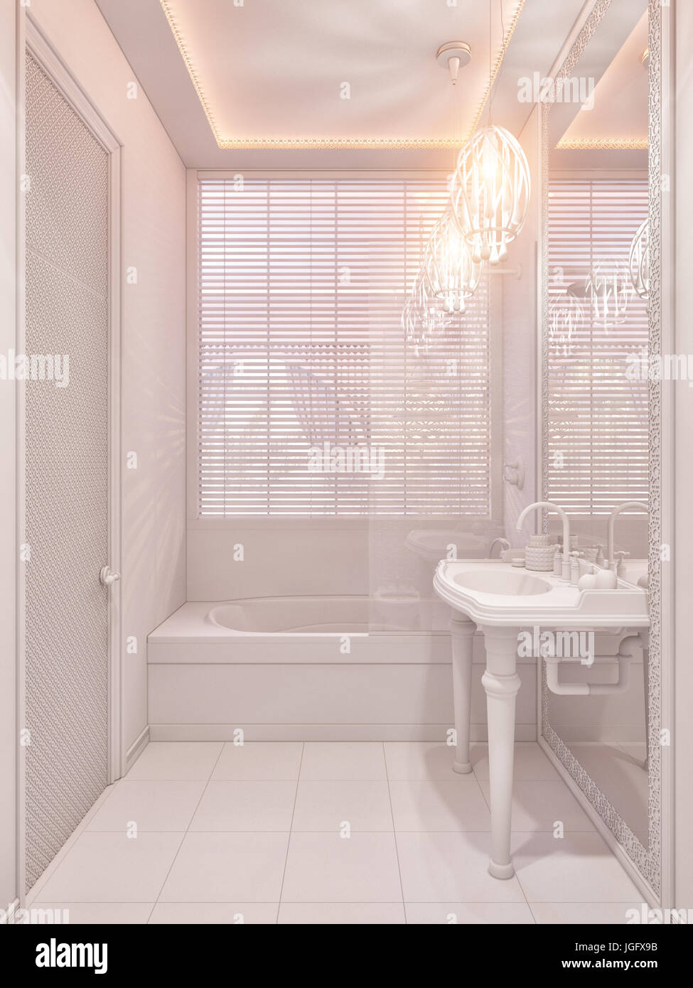 3d Illustration Bathroom Interior Design Of A Hotel Room In Traditional Islamic Style Beautiful Deluxe Background View Decorated With