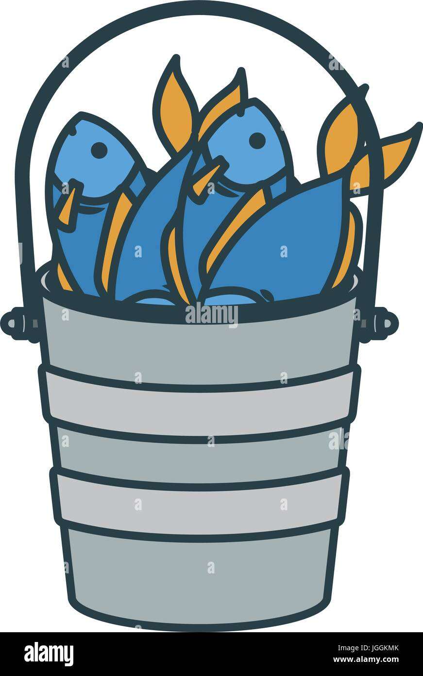 Colorful silhouette bucket full fish with thick contour for Bucket of fish