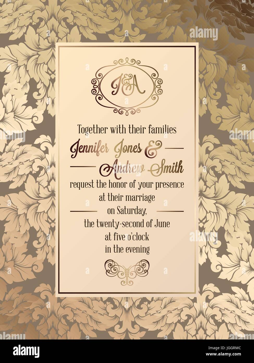 vintage baroque style wedding invitation card template elegant formal design with damask background - Vintage Style Wedding Invitations