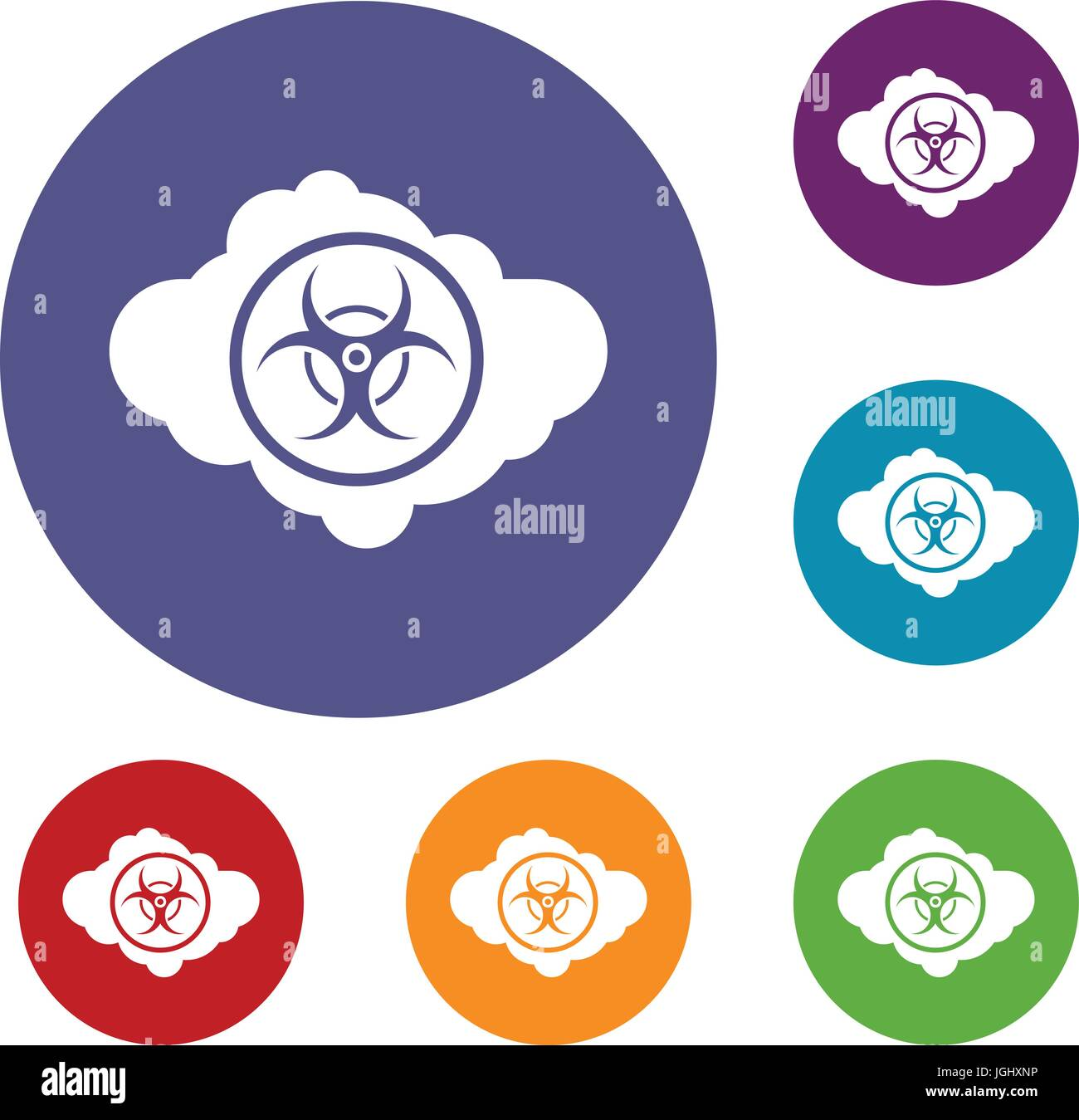 Cloud With Biohazard Symbol Icons Set Stock Photo Royalty Free