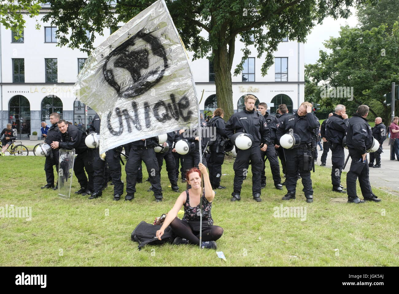 A J Hamburg hamburg germany 08th july 2017 large anti g20 demonstration in