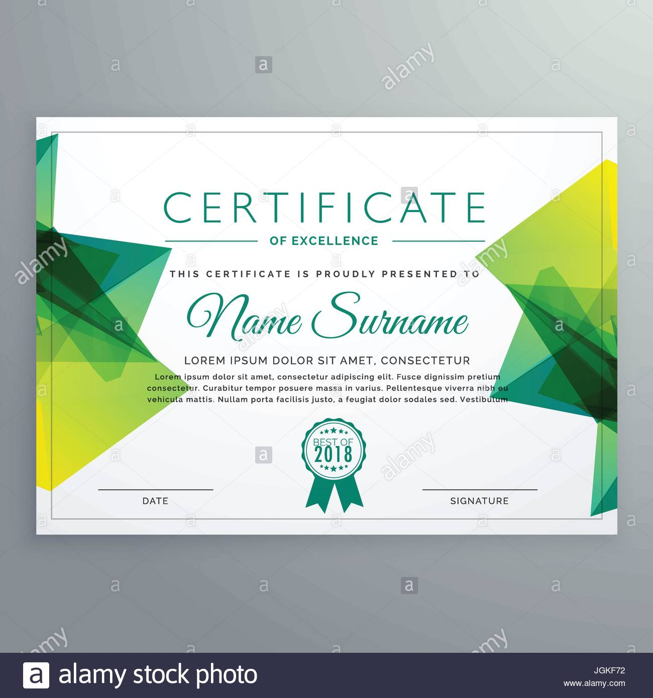 modern vector certificate template with green abstract