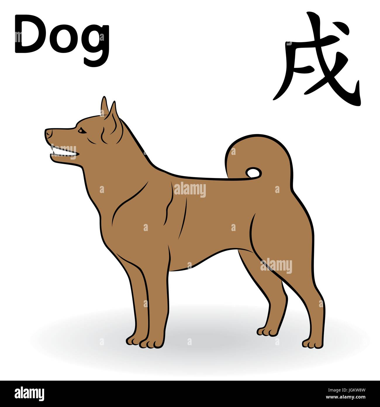 Chinese zodiac sign dog in brown color symbol of new year on the chinese zodiac sign dog in brown color symbol of new year on the eastern calendar hand drawn vector cartoon illustration isolated on a white backgro buycottarizona