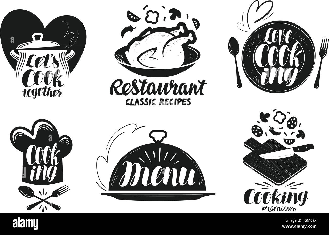 Restaurant Menu Food Label Set Cooking Kitchen