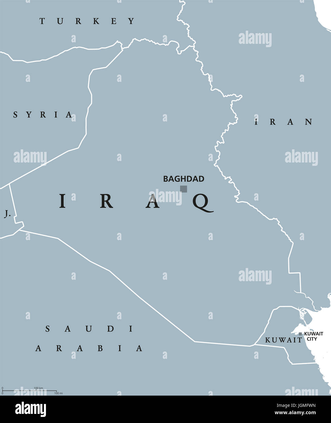 Worksheet. Iraq political map with capital Baghdad Republic and Arab country