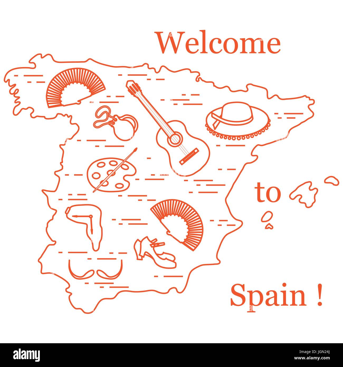 Vector illustration with various symbols of spain arranged in a vector illustration with various symbols of spain arranged in a circle travel and leisure design for banner poster or print biocorpaavc Gallery