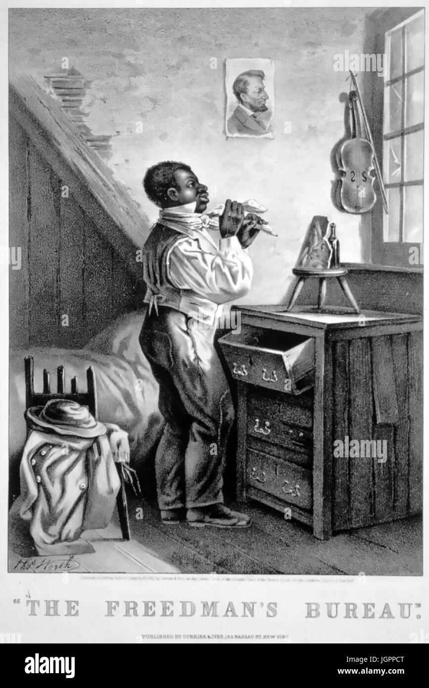 Lovely Stock Photo   THE FREEDMANu0027S BUREAU A Print By Currier U0026 Ives About 1868  Punning On The Bureau As A Piece Of Furniture And The US Governmentu0027s  Freedmenu0027s ...