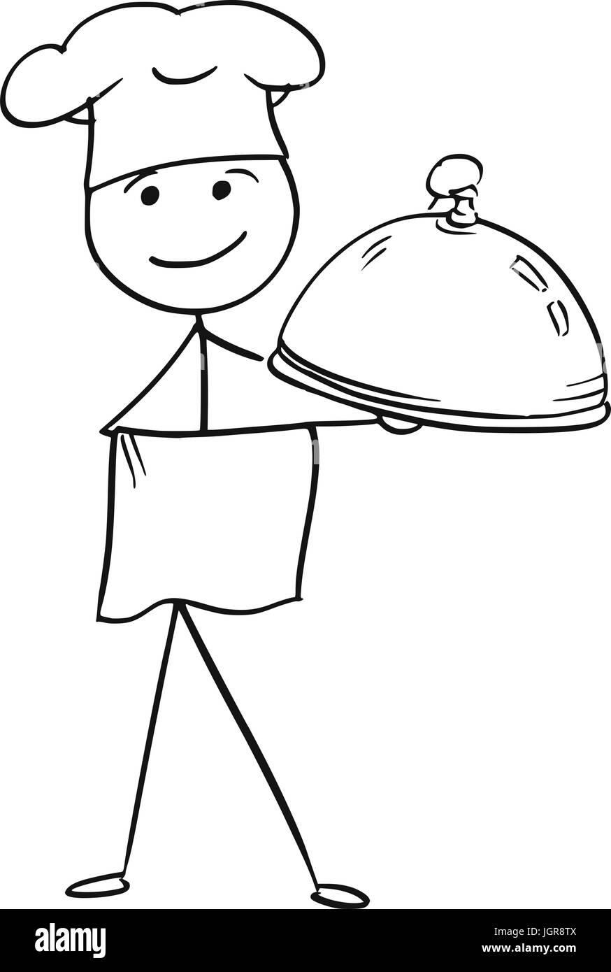 cartoon vector stick man stickman drawing of male cook School Lunch Tray Holding Lunch Tray Clip Art