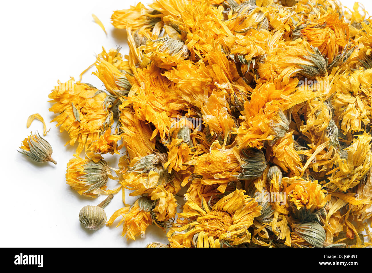 Buy herbal highs - Medicinal Flowers Of A Calendula On White Background Herbal Tea Top View Close Up High Resolution