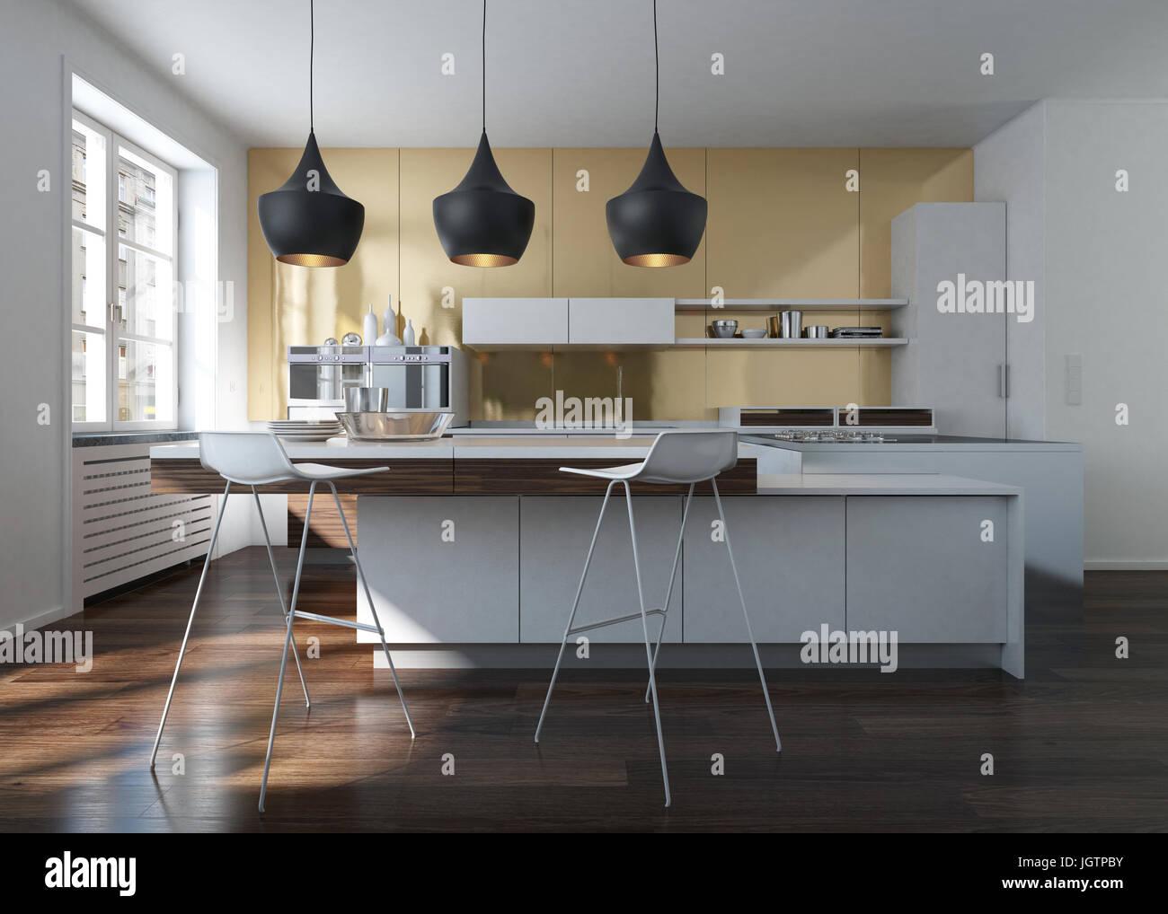 Modern design kitchen interior with golden wall in an urban loft ...
