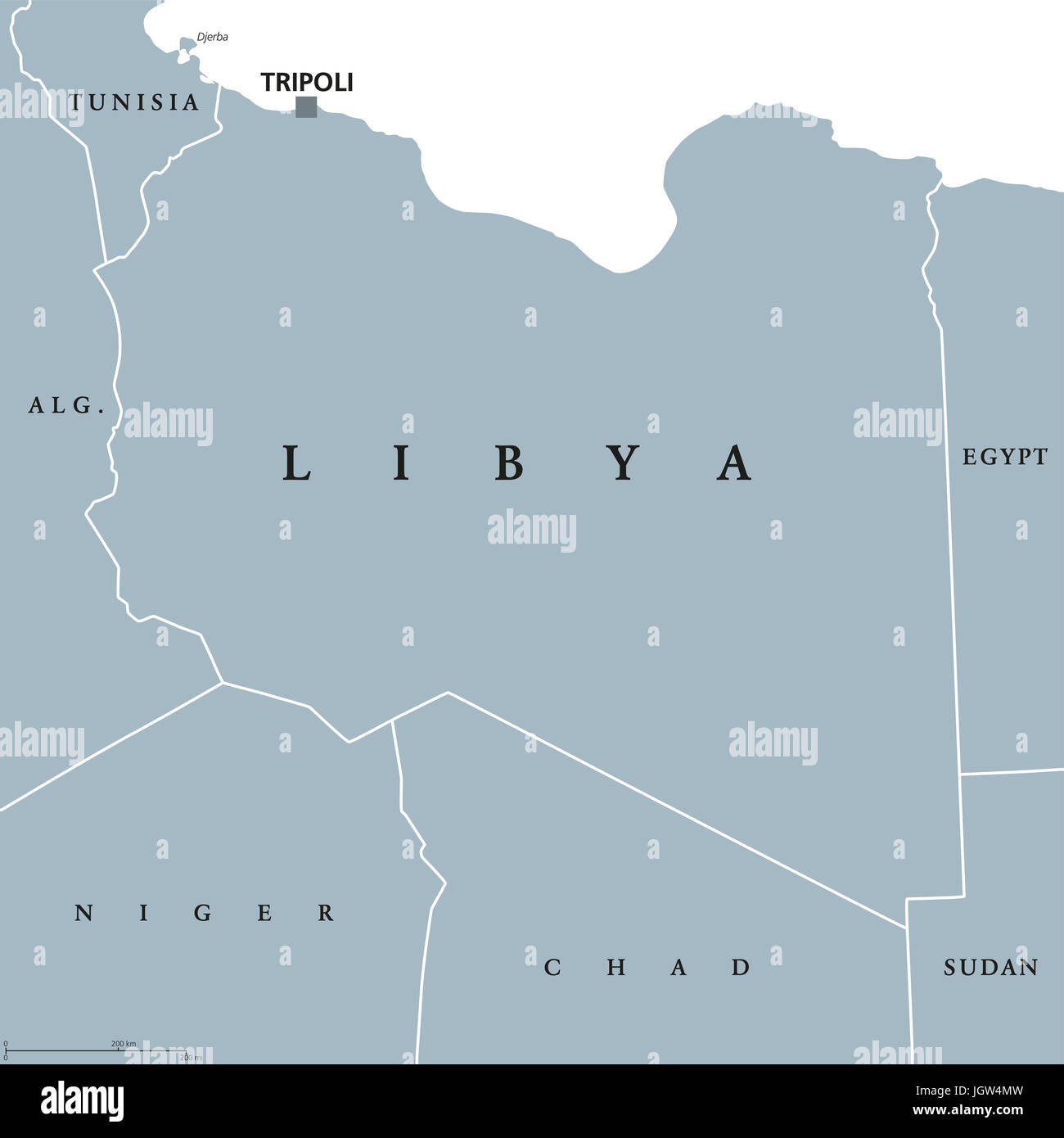 Libya Political Map With Capital Tripoli With National Borders - Tunisia country political map
