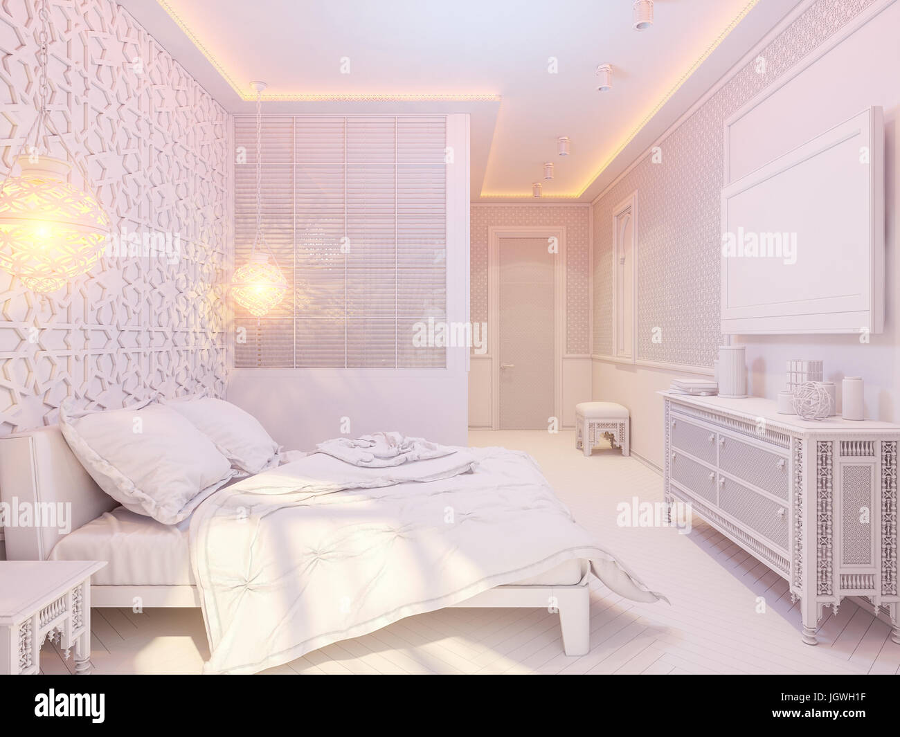 3d illustration bedroom interior design of a hotel room in a traditional islamic style deluxe room background interior view decorated with arabian mo - Traditional Hotel Interior