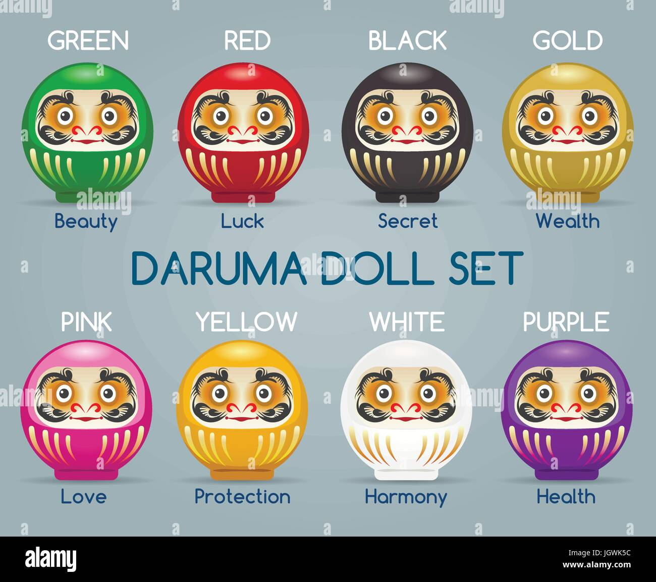 Vector colored japan daruma monk dolls. Gold and green ...
