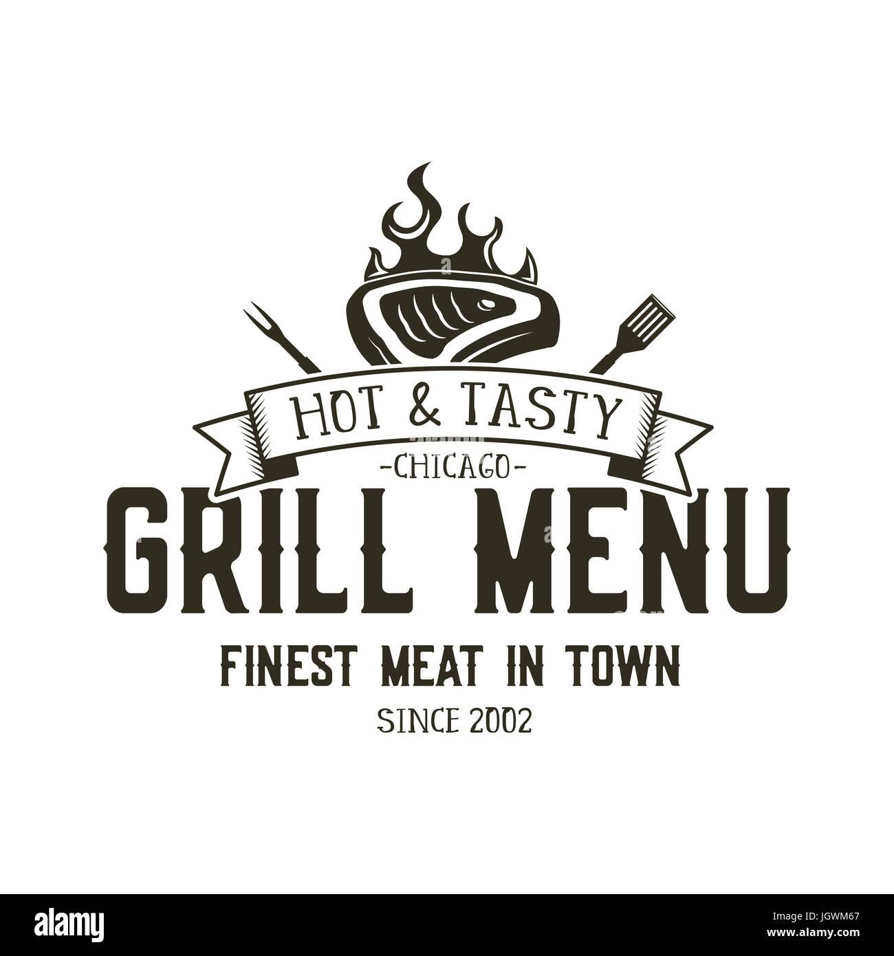 Grill menu emblem template steak house restaurant logo