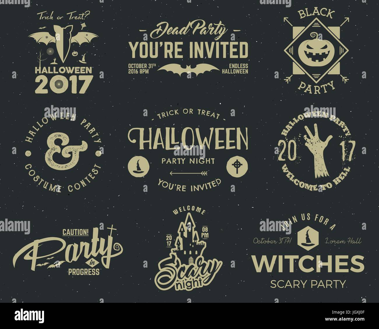 Halloween 2017 party label templates with scary symbols - zombie ...