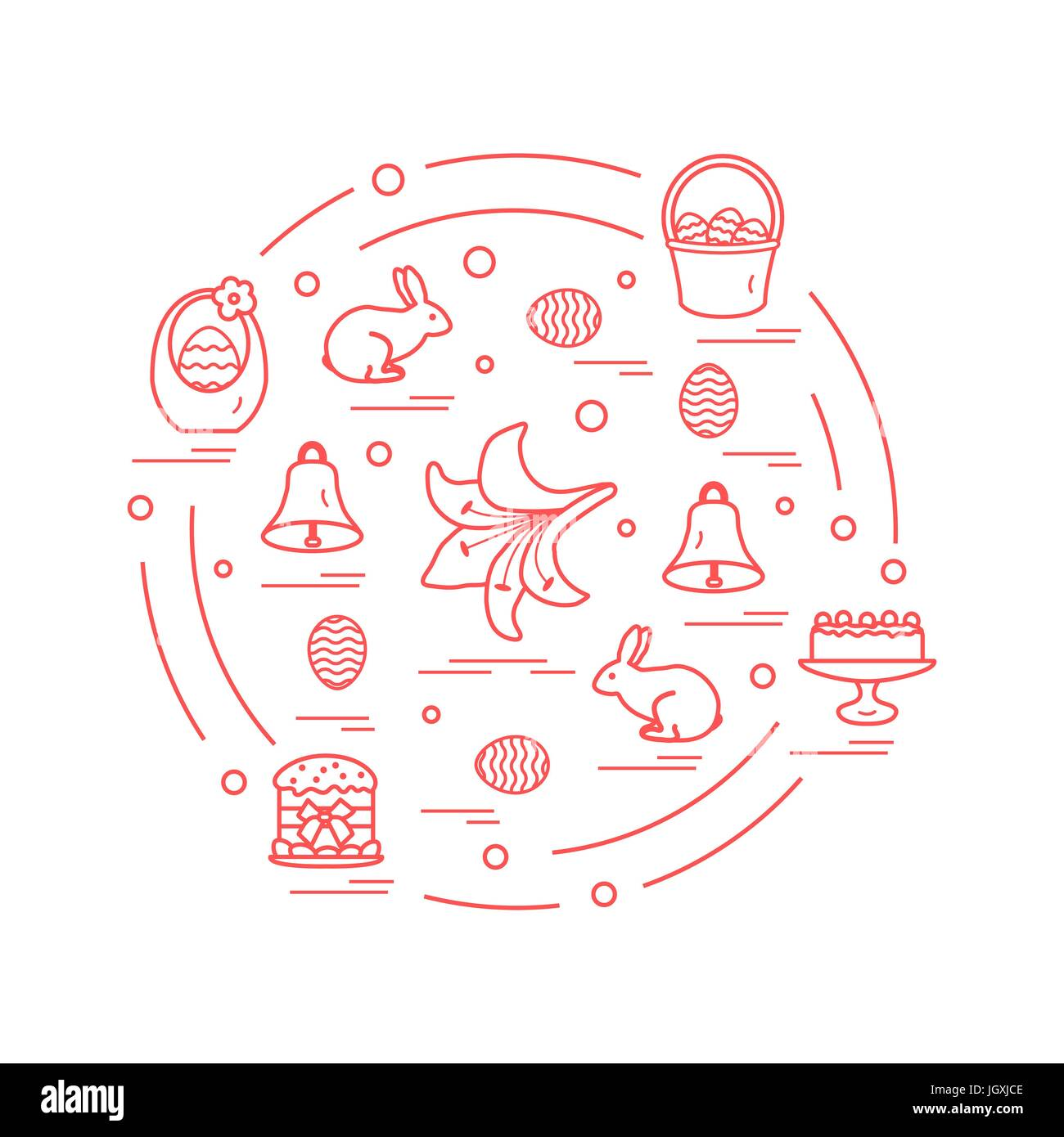 Cute vector illustration with different symbols for easter cute vector illustration with different symbols for easter arranged in a circle including icons of simnel cake lily baskets eggs and other design buycottarizona