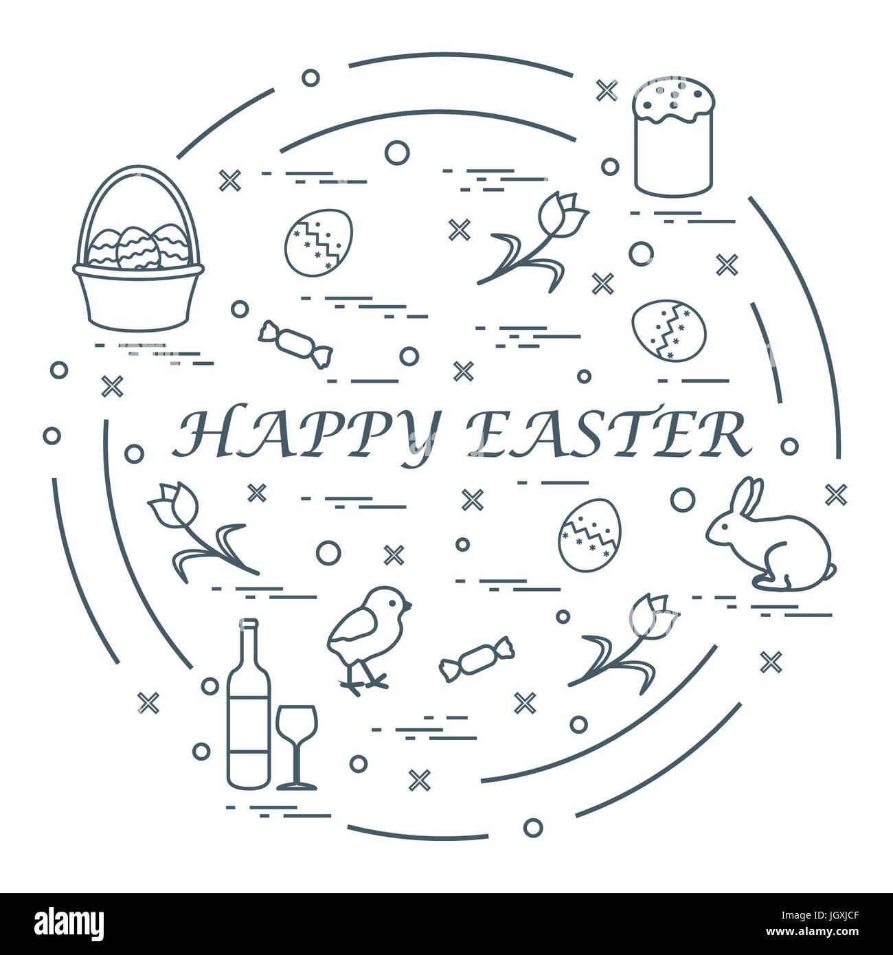 Cute vector illustration with different symbols for easter cute vector illustration with different symbols for easter arranged in a circle including icons of easter cake chick baskets eggs and other desig buycottarizona