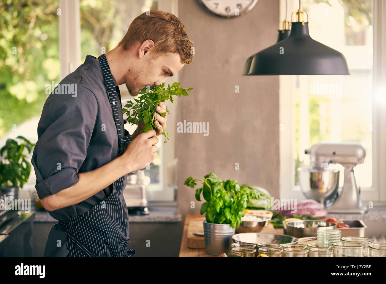 Chefs buying fresh herbs - Chef Smelling Fresh Herbs