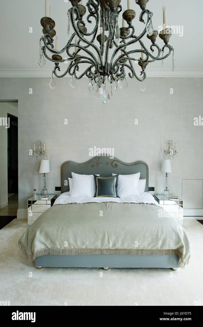 Gustavian Bedroom With Chandelier Stock Photo Royalty Free Image - Gustavian bedroom furniture