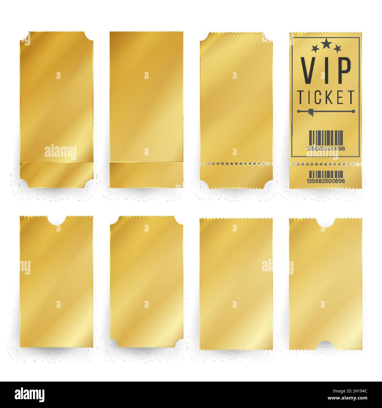 Vip Ticket Template Vector. Empty Golden Tickets And Coupons Blank.  Isolated Illustration  Blank Ticket Template