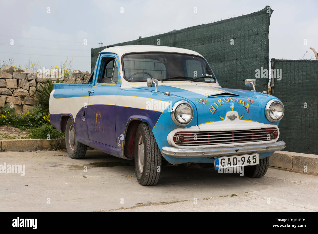 An old austin a55 pick up car or truck in Malta Stock Photo ...