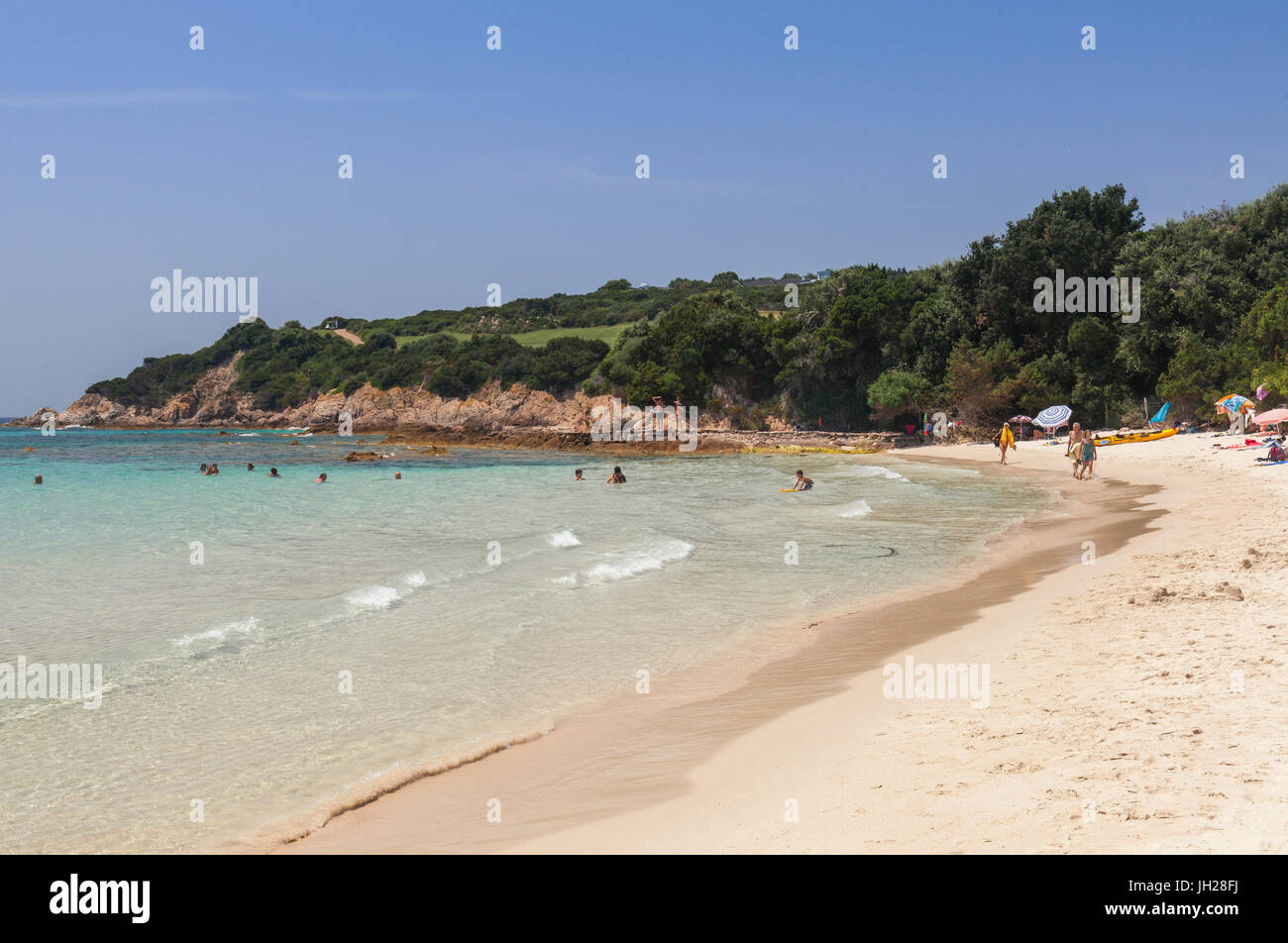 Bathers On Sandy Beach Surrounded By Turquoise Sea And Golf Course Sperone Bonifacio South Corsica France Mediterranean