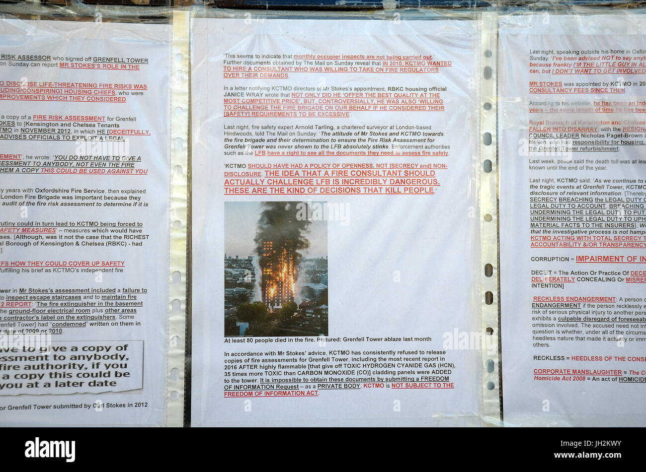 London, UK, 12/07/2017 Flowers, Tributes And Missing Person Posters Show  Signs Of Weather Deterioration But Remain Near Grenfell Tower One Month  After Fire ...  Missing Person Posters