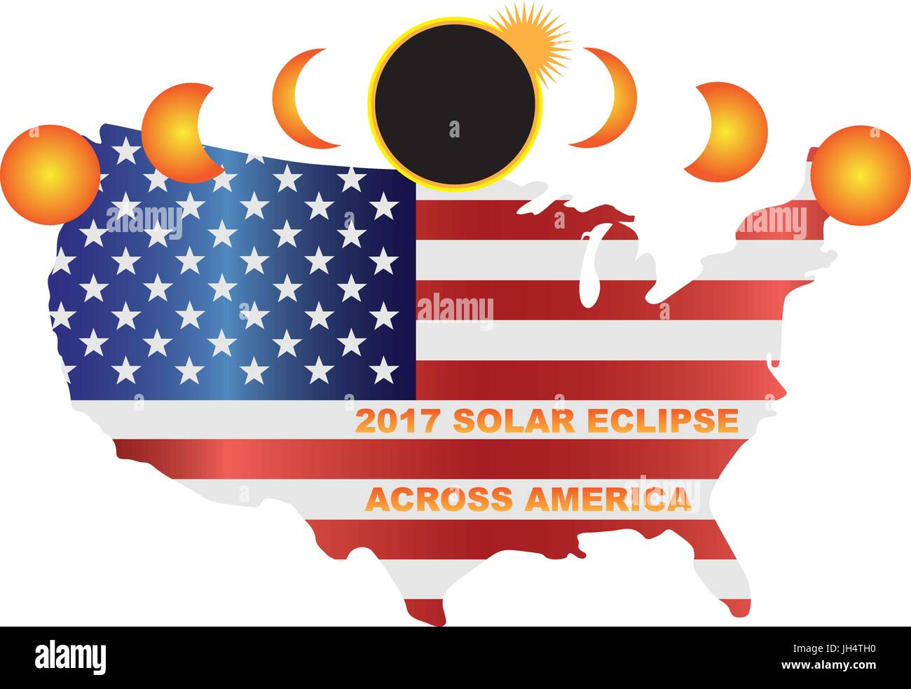 Pictured Ev 2017 Solar Eclipse Totality Across America Usa Map Color Ilration Stock Photo