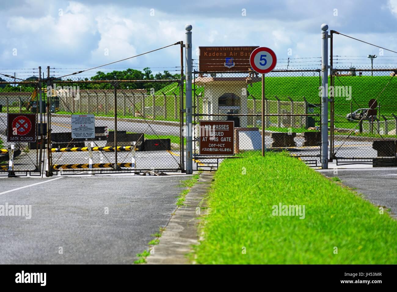 Entrance Of The Kadena Air Base A United States Air Force Base In - United states air force bases