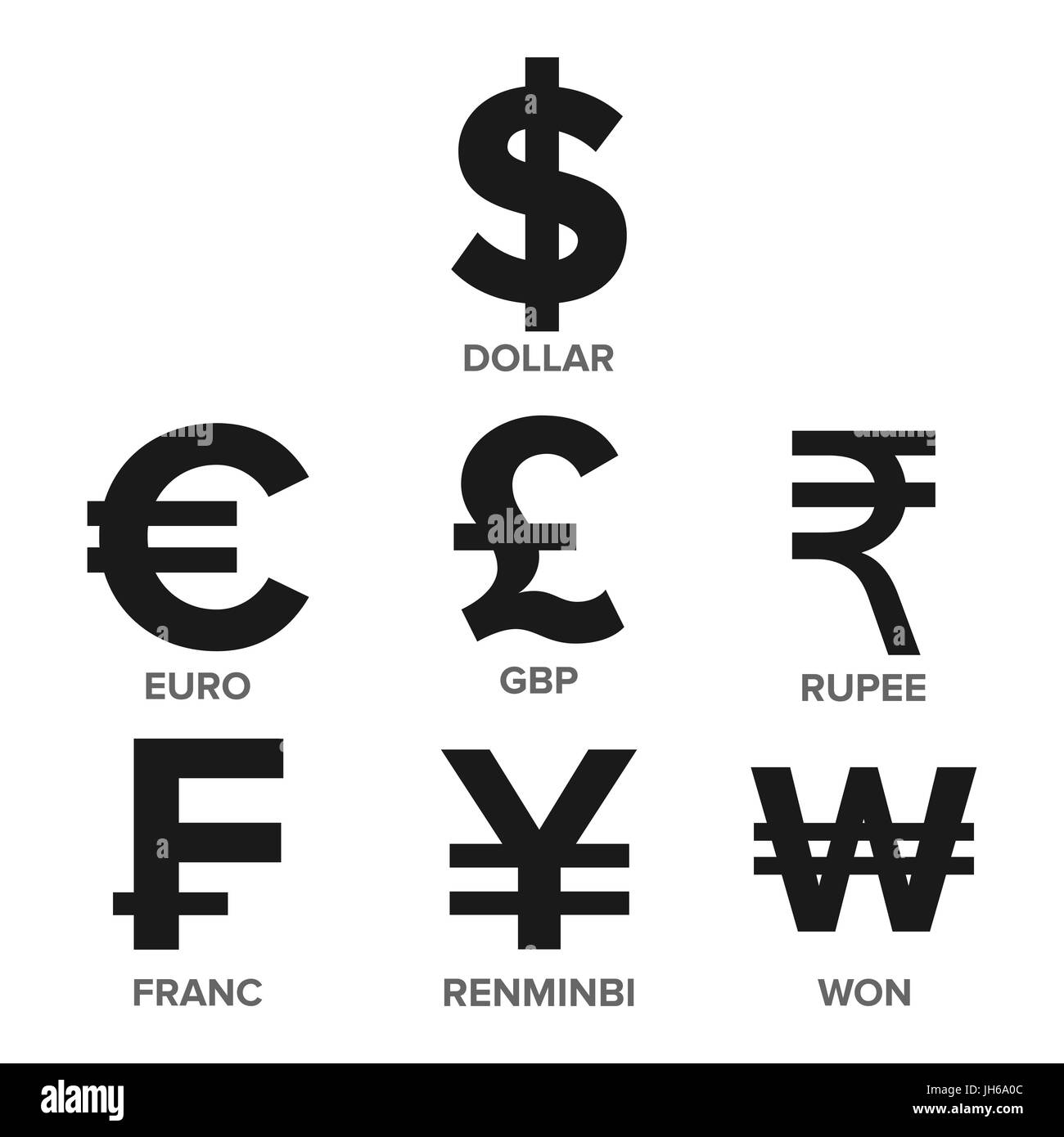 Currency icon set vector money famous world currency finance currency icon set vector money famous world currency finance illustration dollar euro gbp rupee franc renminbi yuan won isolated biocorpaavc Gallery