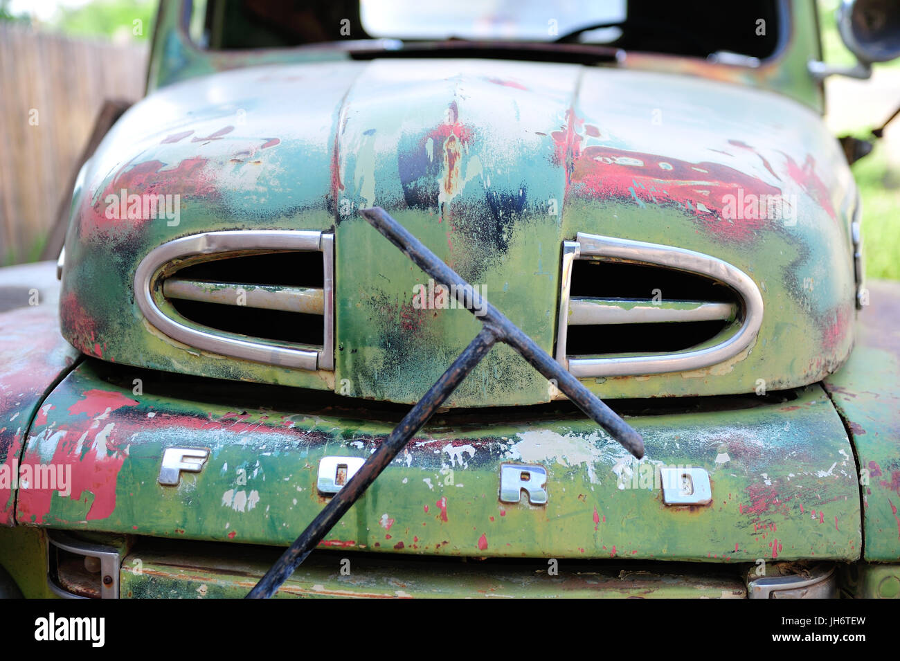 An old Ford pickup sits in a junkyard Stock Photo, Royalty Free ...