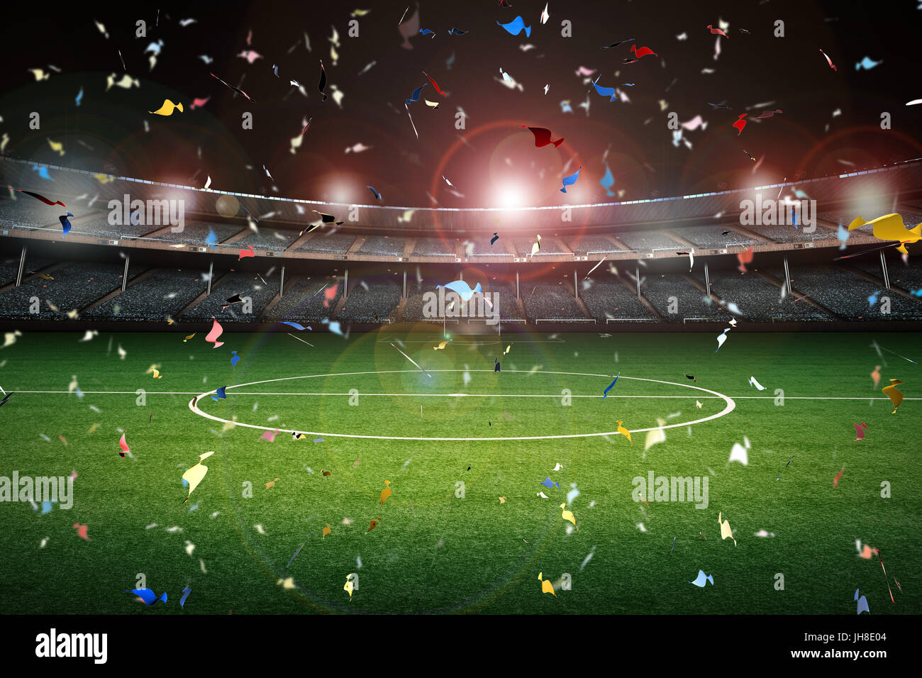 3d rendering confetti celebration with soccer field background stock photo  royalty free image