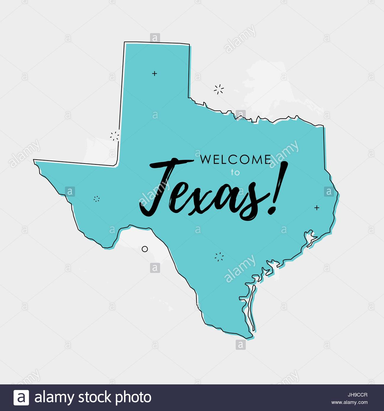 Vector Illustration Of Texas State Map Over US Map In Trendy Flat - Us map flat