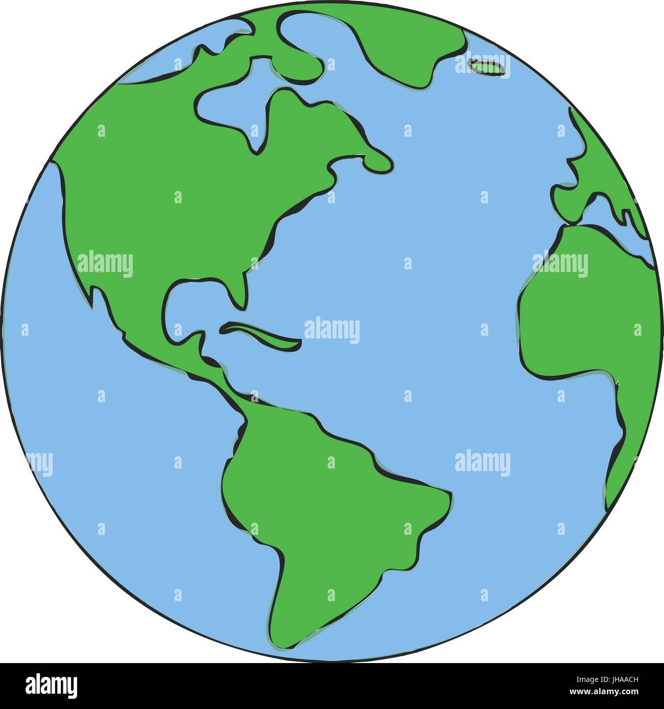 World Globe Kids Illustration Children Drawing Stock Vector - World globe map for kids