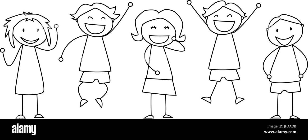 happy smiling kids illustration children sketch - Sketch Images For Kids